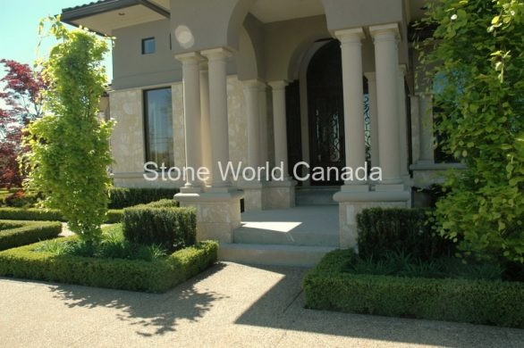 Front Entrance Designs with Stone Pillars