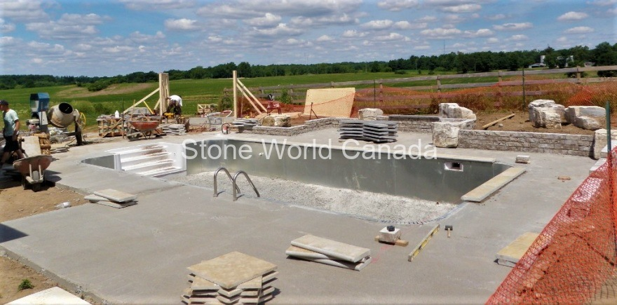 stone patios and stone pool coping for swimming pools